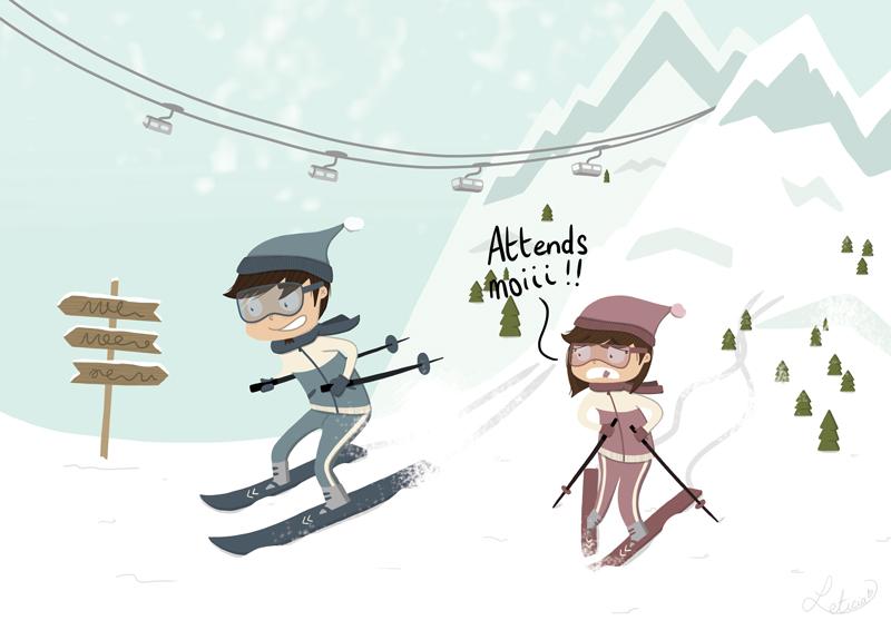 ski, peur du ski, chasse la neige, vacances à la montagne, couple au ski, leticia illustratrice, illustratrice freelance, freelance lille