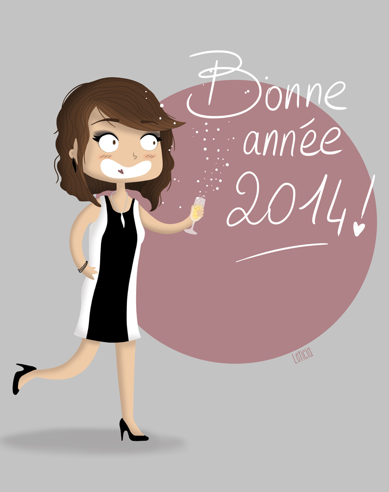carte de voeux, bonne année 2014, carte de voeux 2014, voeux 2014, illustration féminine, leticia illustratrice, illustratrice freelance
