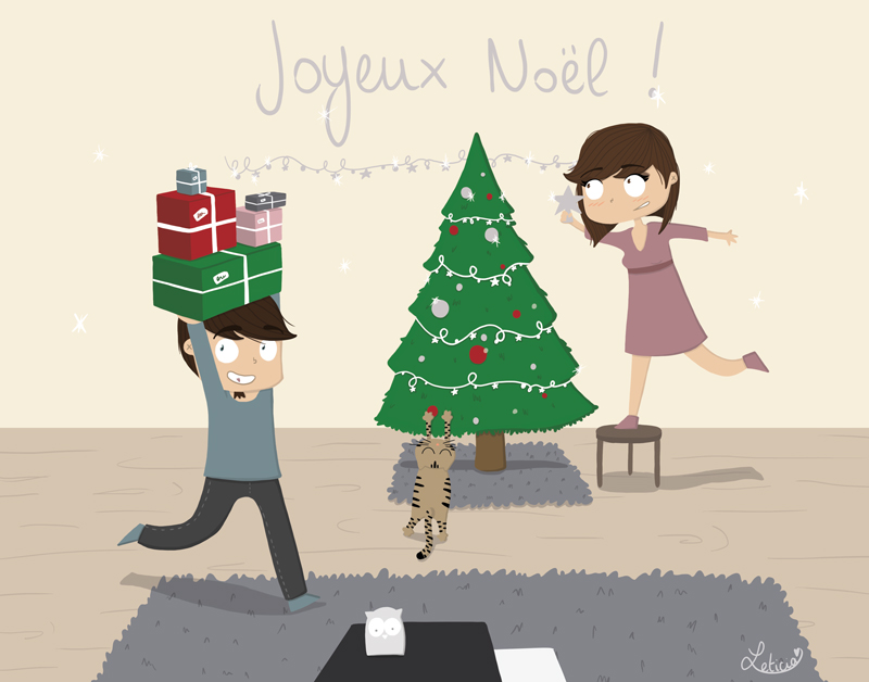 joyeux noël, illustration noël, illustration fêtes de fin d'année, leticia illustratrice, freelance lille, illustrateur lille