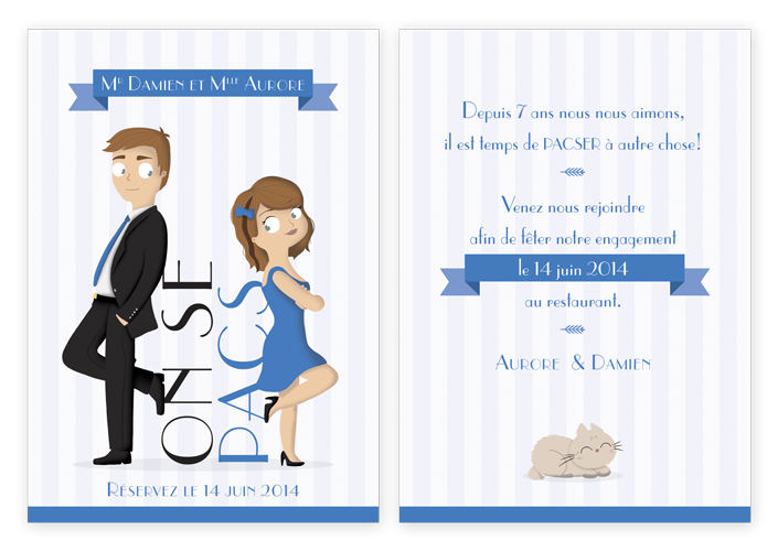 carte invitation, faire-part Pacs, carte de Pacs, pacs homme femme
