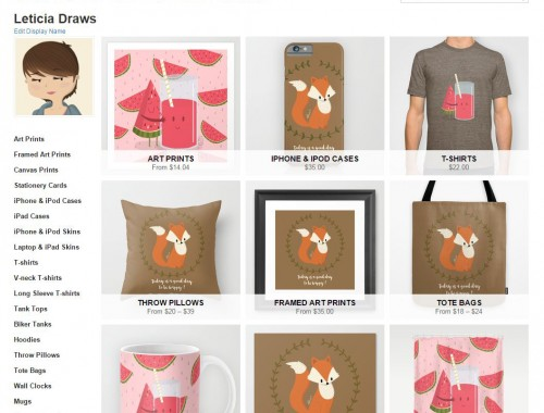 boutique en ligne illustratrice