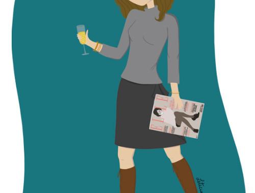 illustration féminine, illustration, working girl, bonne année, carte de voeux