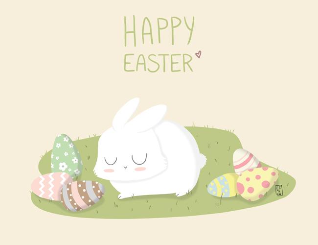 lapin, lapin mignon, cute bunny, happy easter, joyeuse pâques, pâques, oeufs de pâques, lapin sur herbe, week-end pâques